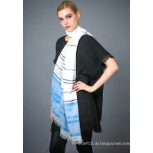 50% Polyester 50% Baumwolle Garn Dye Schal für Damenmode