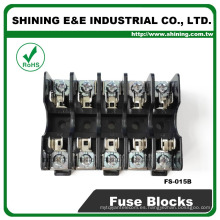 FS-015B 600V 10 amperios de 5 vías midget tipo DIN rail de vidrio fusible titular
