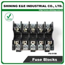 FS-015B 600V 10 Amp 5 Way Midget Tipo Din Rail Glass Fuse Holder