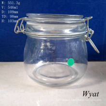 550ml 19oz Glass Clamp Storage Jar Glass Clip Jar for Sundries Wholesale