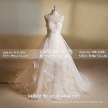 MB16006 Antique Traditional Wedding Dresses With French Lace And Organza Ruffle Design/Exclusive Dresses For Weddings