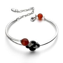 Cheap best product for import initial jewellery bracelet elegant red agate flower opening gold bracelet