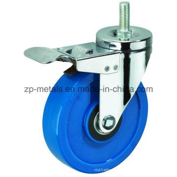 Rodízio azul feito sob medida médio do rodízio do PVC da linha de 3inch Biaxial com freio