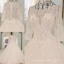 RP65512 Real half sleeve luxury wedding gowns with royal trains modest bridal gown scalloped neckline wedding dress