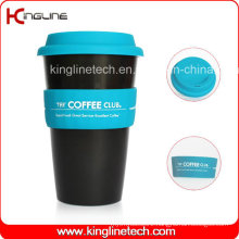 Daily Used 500ml Coffee Cup with Sillicone Band and Cover OEM (KL-CP004)