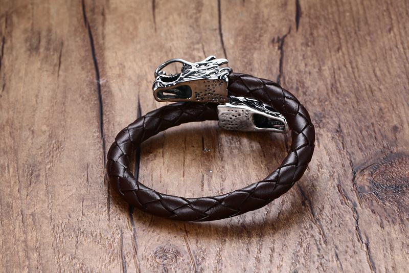 Dragon Head Genuine Leather Bracelet