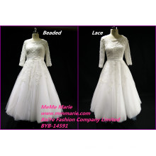 2017 Royal Wedding Dresses Heart Back Lace Fabric and Beaded Bridal Gowns Scoop BYB-14591