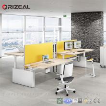 Hochwertiger höhenverstellbarer Arbeitstisch mit zwei Arbeitstischen für zwei Personen