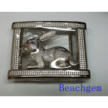 Chinese Zodiac Rabbit CZ Sterling Silver Belt Buckle for Man