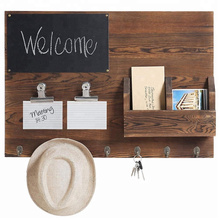 Rustic Dark Brown Wood Wall-Mounted Chalkboard & Mail Sorter with Key Hooks