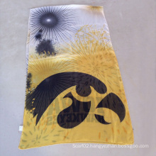 University of Scarf, Yellow Polyester Voile Scarves Gold and Silver Line Scarf
