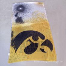 University of Scarf, lenços de poliéster amarelos e lenços de ouro e prata