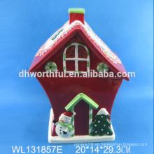 Alta calidad de cerámica de Navidad gran casa contenedor de almacenamiento