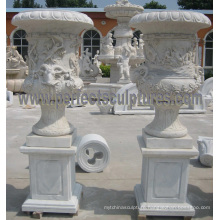 Garden Stone Flower Vase with Marble Vase (QFP328)