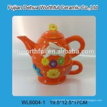 Popular tetera de cerámica de Pascua en handpaint completo