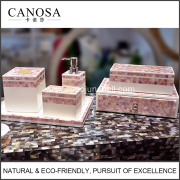 10 Years for Mother of pearl bathroom amenity set Luxury Amenity Pink Shell Mosaic Bathroom Amenity Set export to Iceland Suppliers