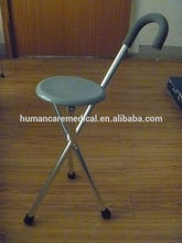 wholesale aluminum portable folding stool cane with three legs