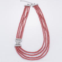 Moda multi-camada Red Pearl Necklace