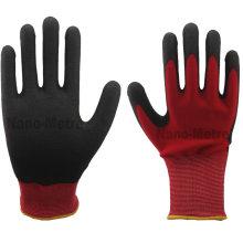 NMSAFETY 13 gauge red nylon liner dip PVC foam gloves/working glove/safety glove