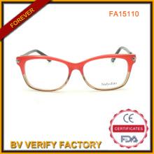 Haute qualité couleur rouge les montures acétate avec déco pour dames en gros (FA15110)