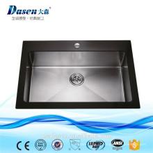 Dasen afundar pia de cozinha de aço inoxidável da placa de vidro pia Topmounted com dreno de assoalho (DS-G901)