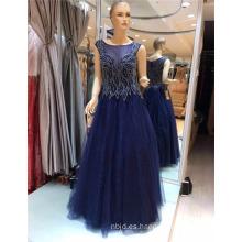 2017 magnífico sin mangas azul oscuro de encaje de gama alta Tulle largo molde moldeado Appliqued A-line vestido de noche