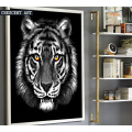 Black and White Wildlife Tiger Portrait Canvas Art Print