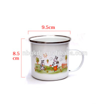 china enamel mug with stainless steel rim ware factory