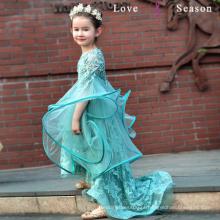 XXLF219 adorável vestido de bola flor menina vestidos padrões livre alto baixo vestido de menina