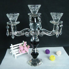 suporte de vela de cristal claro decorativo do casamento por atacado do casamento da igreja