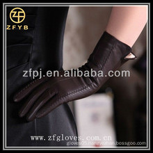 2016 ladies' fashion brown dress sheep leather gloves