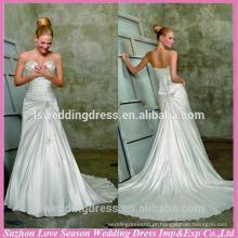 WD1811 neckline strapless neckline sem mangas reuniu os padrões de contas superiores em corpete trem uma linha vestido de noiva sem alças