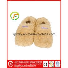 Fluffy regalo de invierno de microondas calentado zapatilla para calentar el pie