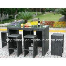Открытый PE Rattan Сад Современный Патио Обеденный барный столик Set