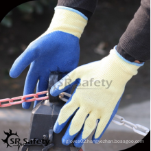 SRSAFETY cheap price/10g poylester latex coated work glove EN388 2242/hand gloves