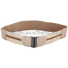 Braided Ladies Elastic Belt With Gunmetal Buckle
