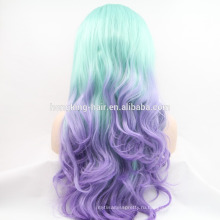 Дешевые необработанные два тона цвет Ломбер синтетические кружева парик
