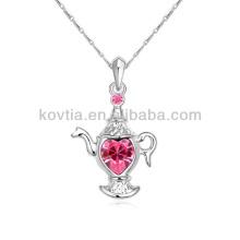 2014 neues Design Silber überzogene Schmucksache-Teekanne hängende Halskette