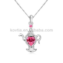 2014 new design silver plated jewelry teapot pendant necklace