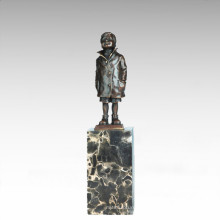 Kids Figure Statue Little Boy Child Bronze Sculpture TPE-743