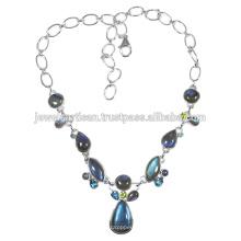 Labradorit und Multi Edelstein 925 Solid Silber Halskette