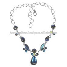 Labradorite And Multi Gemstone 925 Solid Silver Necklace