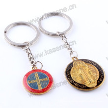 China Factory Zinc Alloy Catholic Souvenir St. Benedict Religious Cheap Keychain