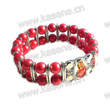 Red Glass Beads with Alloy Sheet Religious Bangle