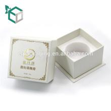 Mode design blanc environnement EVA insert fantaisie papier emboutissage logo bouteille de parfum boîte-cadeau