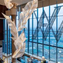 2021 Nouveau design Plafond Hôtel Feuille Lustre De Luxe