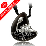 Hot Sale Lotus Design Wooden with Silver Necklace Jewelry