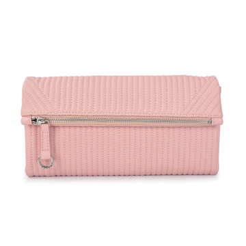 Bolso de cuero simple Cartera de embrague Cartera plegable Rosa