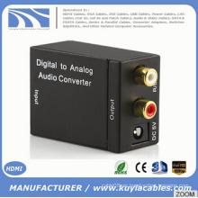 Digital coaxial Toslink señal analógica L / R RCA Audio Converter