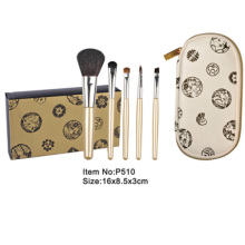 5pcs portable makeup brush kit with optional printed canvas case